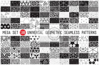 Plakat 100 Uniwersalne różne wzory geometryczne szwu