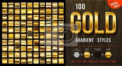 Plakat 100 wektorowych gradientów złota. Kolekcja złotych kwadratów z konturem. Złota tekstura tło. Mega kolekcja złotych materiałów gradientowych. EPS10