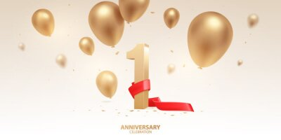 Plakat 1st Year anniversary celebration background. 3D Golden number with red ribbon, confetti and balloons.