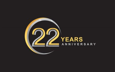 Plakat 22nd years anniversary golden and silver color with circle ring isolated on black background for anniversary celebration event