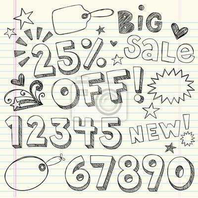 Plakat 25% rabatu Tagi Procent Zakupy Sprzedaż Ikony wektorowych