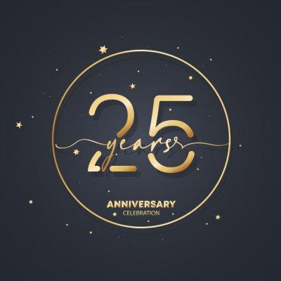 Plakat 25 years anniversary logo template. 25th birthday, wedding anniversary icon. Trendy symbol image. Vector EPS 10. Isolated on background