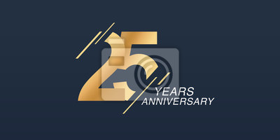 Plakat 25 years anniversary vector icon, logo. Graphic design element with golden number
