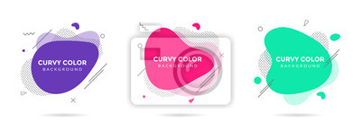 Plakat 3 Modern liquid abstract element shape memphis style design fluid vector colorful illustration set. Banner simple shape template for presentation, flyer, brochure isolated on white background.