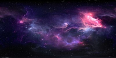 Plakat 360 degree equirectangular projection space background with nebula and stars, environment map. HDRI spherical panorama