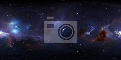 Plakat 360 degree space background with glowing huge nebula with young stars, equirectangular projection, environment map. HDRI spherical panorama.