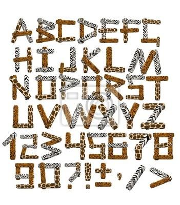 3d alfabet w stylu safari