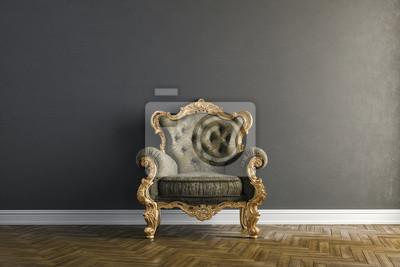 Plakat 3d archiwalne ramię krzesło wnętrza renderowania