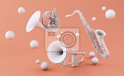 Plakat 3d Białe instrumenty muzyczne