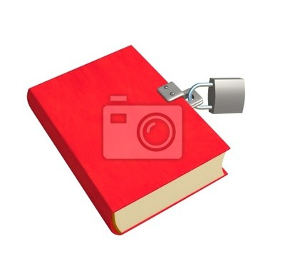 Plakat 3d czerwona książka, zamknięte na zamek. Obiekty nad białym