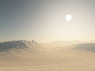 Plakat 3D desert landscape with sand dunes