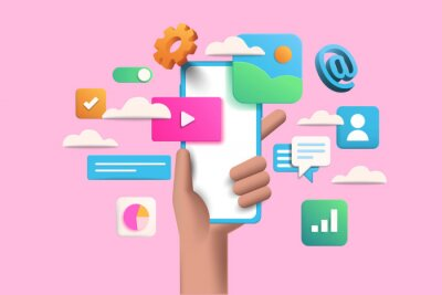 Plakat 3D Handhold phone mobile app development, application building, app testing, UI-UX and web design. Abstract 3d object background. 3d Vector illustration