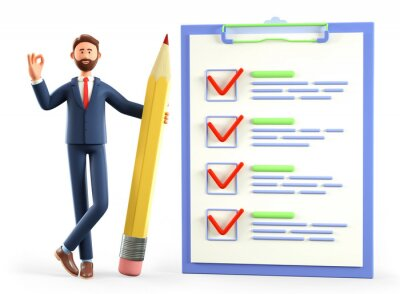 Plakat 3D illustration of businessman with ok gesture holding a huge pencil, standing nearby a marked checklist on a clipboard paper, questionnaire, customer survey form. Successful tasks completion.