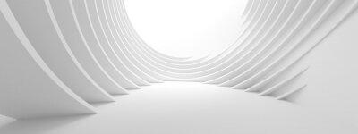Plakat 3d ilustracja Biały Kółkowy budynek. Nowoczesna tapeta geometryczna. Futurystyczny projekt technologii