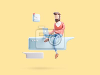 Plakat 3d ilustracja. facet jest w Internecie. koncepcja mediów społecznościowych
