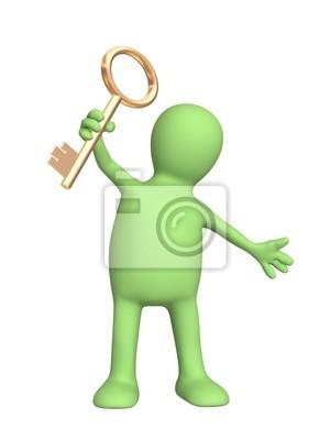 Plakat 3d lalek, trzymając w ręku klucz złota