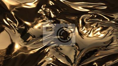Plakat 3d odpłacają się piękno abstrakt złociste fala
