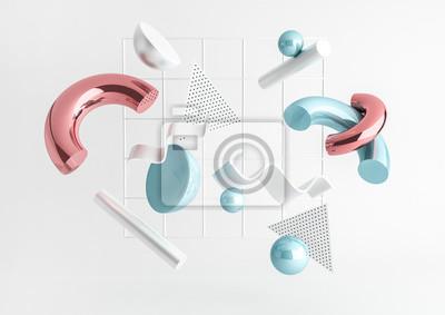 Plakat 3d odpłacają się realistycznego prymitywów skład. Latający kształtuje w ruchu odizolowywającym na białym tle. Abstrakcyjny motyw dla modnych wzorów. Kule, torusy, rurki, stożki w metalicznych kolorach