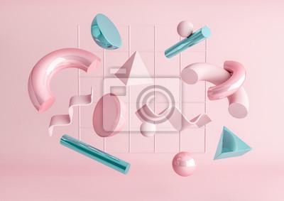 Plakat 3d odpłacają się realistycznego prymitywów skład. Latający kształty w ruchu odizolowywającym na różowym tle. Abstrakcyjny motyw dla modnych wzorów. Kule, torusy, rurki, stożki w metalicznych kolorach