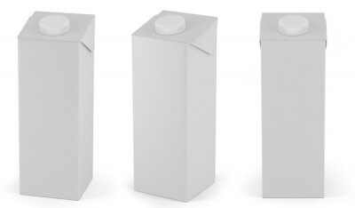 3D packaging. Retail package mockup set of juice or milk boxes. Isolated on white