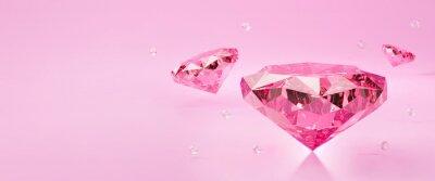 Plakat 3d pink diamond jewelry stone or gemstone with light sparkle