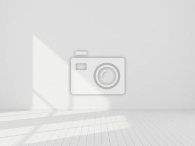 Plakat 3D pobudzają wnętrze pokoju białego i deski podłogowej z drewna z promieniami słońca rzucają rytm cienia na ścianę, Perspektywa minimalistycznej architektury projektowej