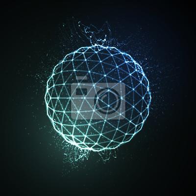 Plakat 3D podświetlane sfera świecące cząstki