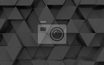 3d powierzchni wytłaczanych z trójkątów, kolor czarny