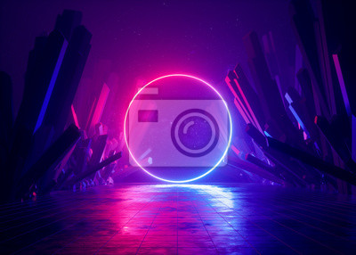 Plakat 3d render, abstract background, cosmic landscape, round portal, pink blue neon light, virtual reality, energy source, glowing round frame, dark space, ultraviolet spectrum, laser ring, rocks, ground