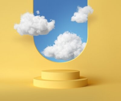 Plakat 3d render, abstract background with blue sky inside the window on the yellow wall. White clouds fly inside the room with vacant podium. Blank showcase mockup with empty round stage