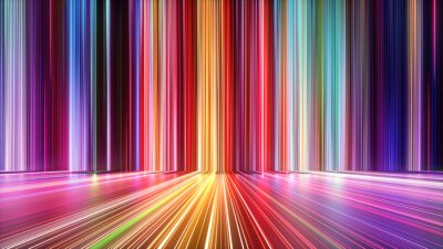 Plakat 3d render, abstract background with colorful spectrum. Bright neon rays and glowing lines.