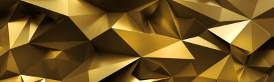 Plakat 3d render, abstract gold crystal background, faceted texture, macro panorama, wide panoramic polygonal wallpaper