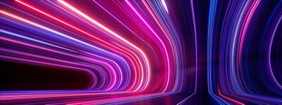 Plakat 3d render, abstract panoramic neon background. Bright purple violet pink lines glowing in ultraviolet light