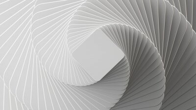 Plakat 3d render, abstract white geometric background, minimal flat lay, twisted deck of square blank cards with rounded corners