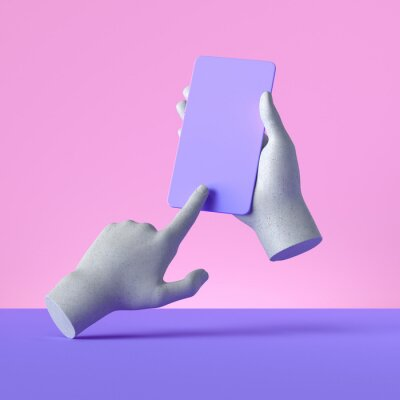 Plakat 3d render mannequin hands holding smart phone gadget, electronic device concept, isolated on pink violet background, minimal modern design. Remote control with touchscreen, user experience