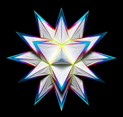 Plakat 3d render of abstract art with surreal fractal alien star flower based on connected pyramids geometry figures in white plastic material with glass parts in blue purple green gradient color on black