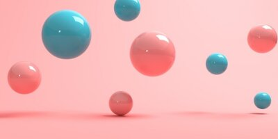 Plakat 3D render of abstract spheres