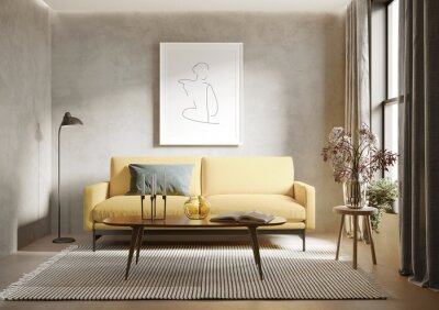 Plakat 3d render of agrungy concrete room with a yellow sofa an art canvas and many plants and flowers