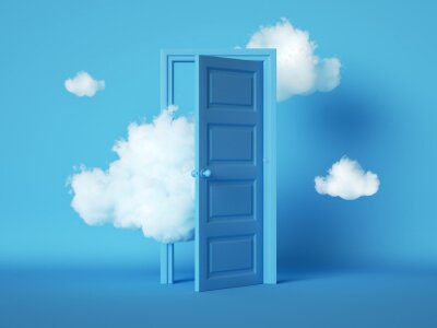 Plakat 3d render, white fluffy clouds going through, flying out, open door, objects isolated on blue background. Door to haven abstract metaphor, modern minimal concept. Surreal dream scene