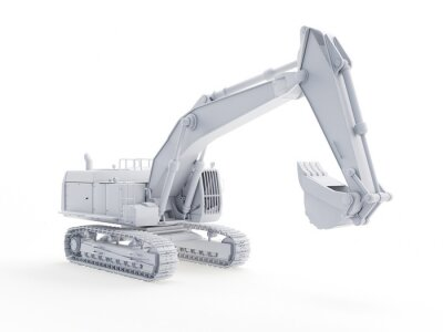 Plakat 3d rendered object illustration of an abstract white excavator
