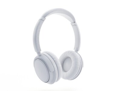 Plakat 3d rendered object illustration of an abstract white headphones