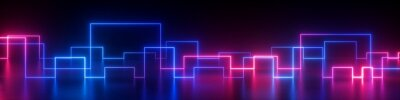 Plakat 3d rendering, abstract panoramic retro synth wave neon background. Glowing square lines in ultraviolet spectrum