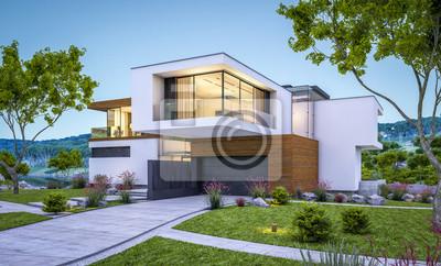 Plakat 3d rendering nowożytny dom przy rzeką przy wieczór
