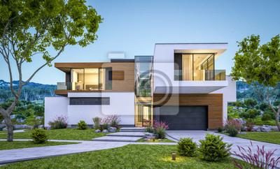 Plakat 3d rendering nowożytny dom rzeką przy wieczór