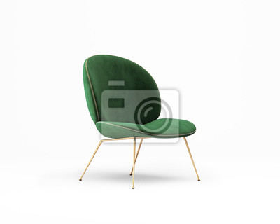 Plakat 3d rendering of an Isolated green velvet modern chair