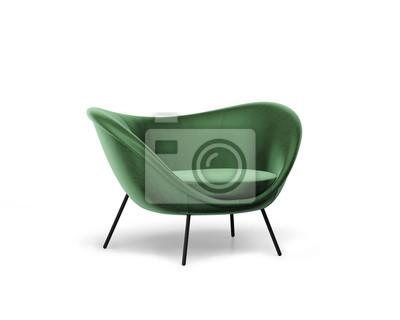 Plakat 3d rendering of an Isolated modern green velvet lounge armchair