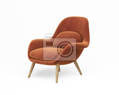 Plakat 3d rendering of an Isolated orange modern lounge armchair