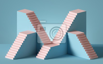 Plakat 3d rendering of pink staircase isolated on blue background. Blank platform. Minimal concept. Architectural design elements.