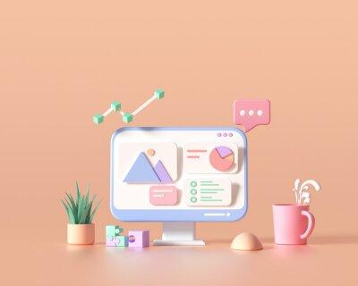 Plakat 3D SEO Optimization, web analytics and seo marketing cncept. 3d render illustration