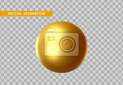Plakat 3D sfera złoty kolor odizolowywający na przejrzystym tle